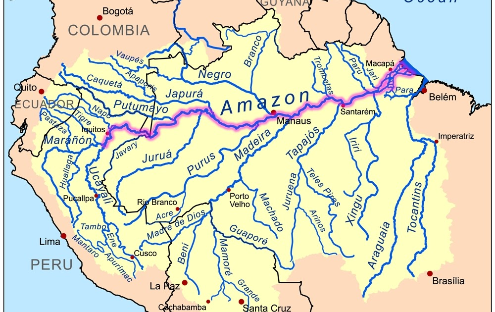 Amazon River Animal Photo - Amazon river map