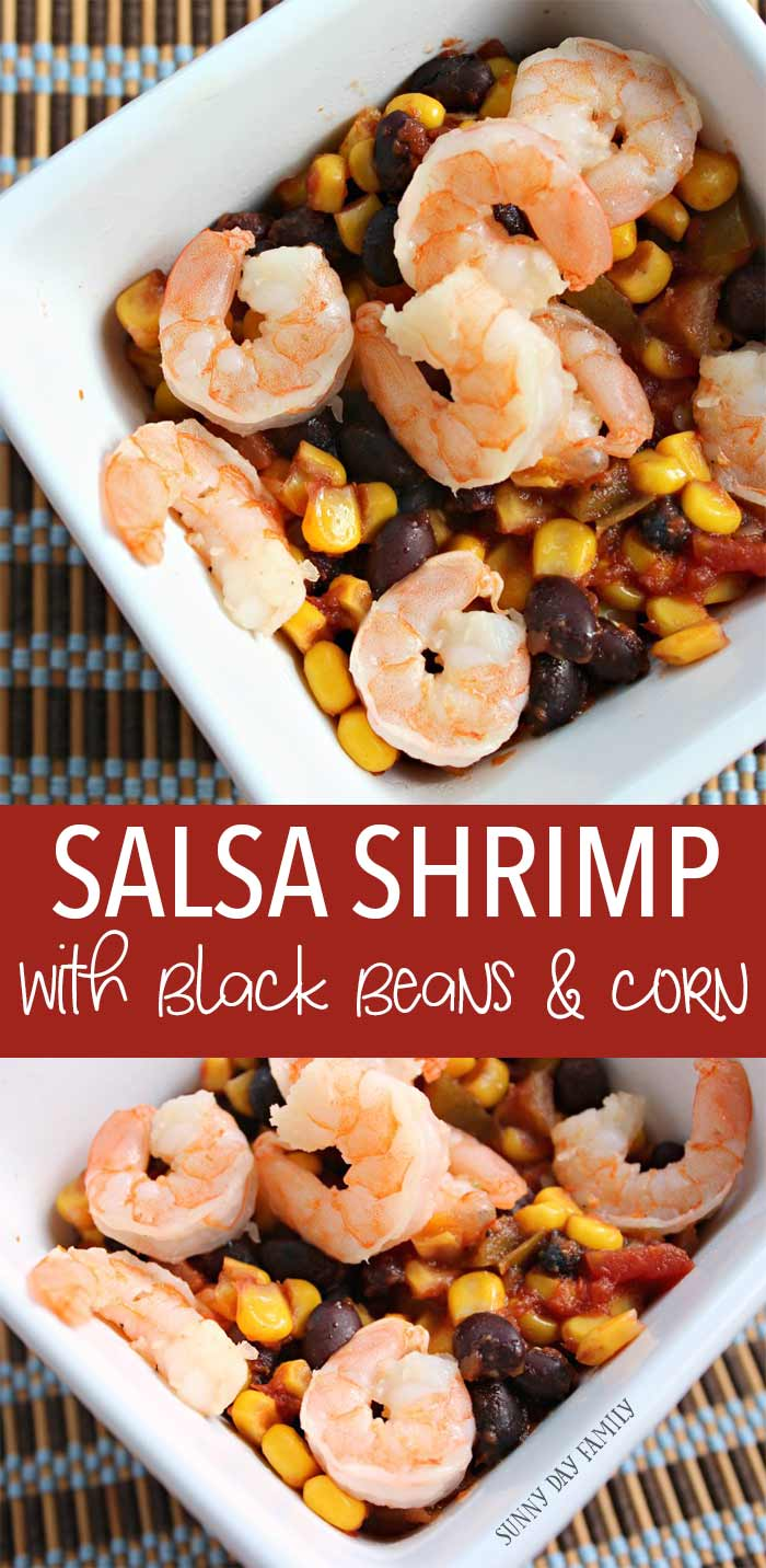 A super easy summer meal right from the crock pot! Spicy salsa, beans, and corn mix with sauteed shrimp for an easy weeknight dinner. So simple and so good! You've got to try it.