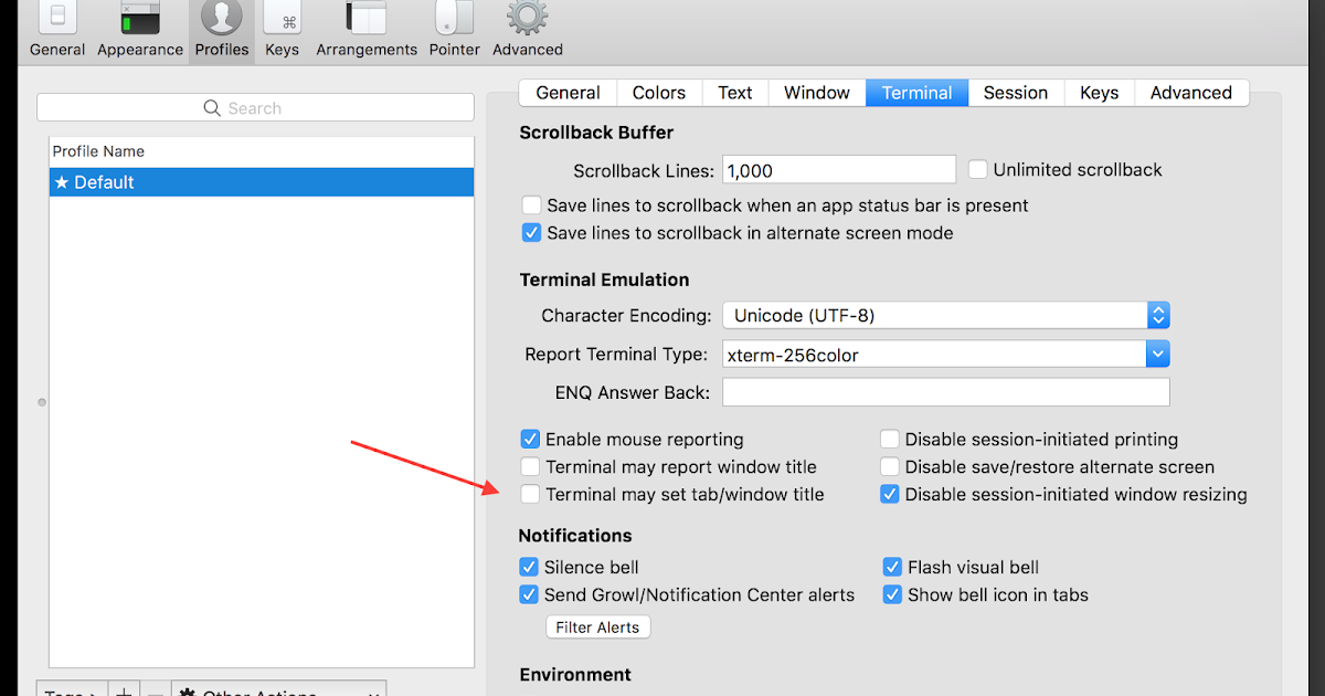 Prevent the tab title from changing in iTerm | Albertech Blog