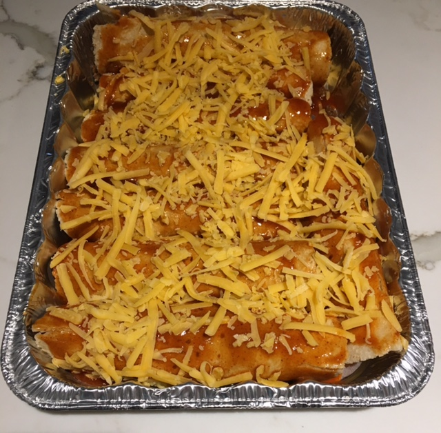 Chicken or ground beef enchiladas