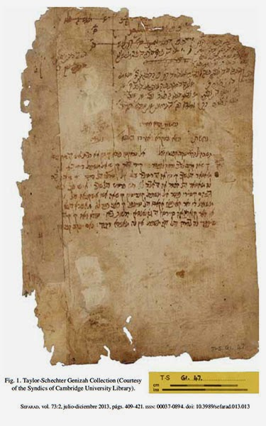 Según los presentadores del documento en la revista Sefarad, Shmuel Glick, del Instituto Schocken de Jerusalén, y Dotan Arad, de la Universidad Bar-Ilan, en Ramat Gan, el texto fue llevado a Egipto por un exiliado judío a finales del siglo XIV o principio del XV.