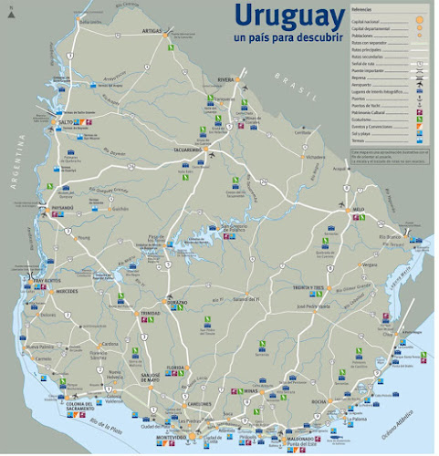 Mapa das rotas do Uruguai