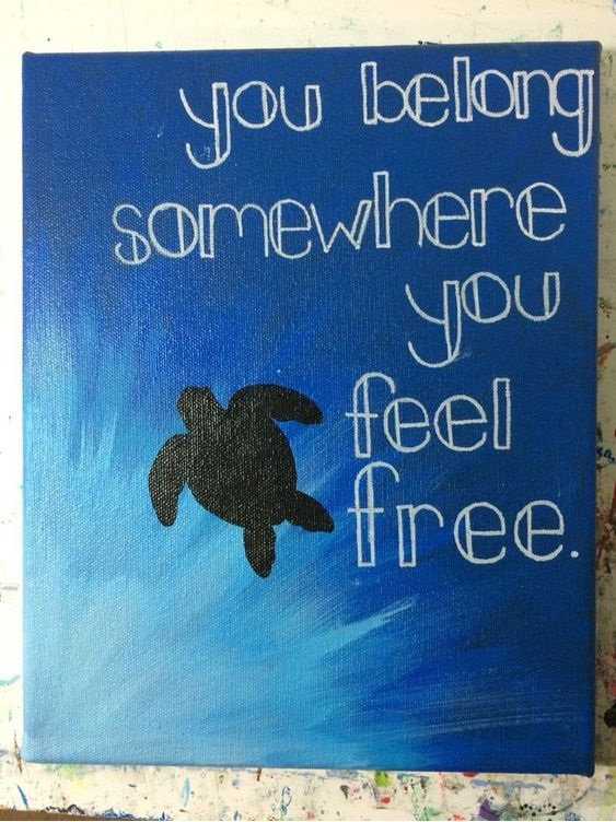 DIY Hand Painted Turtle Canvas With Quote