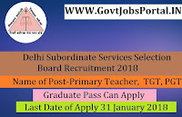 Delhi Subordinate Services Selection Board Recruitment 2018 – 9232 Primary Teacher, Special Education Teacher, TGT, PGT