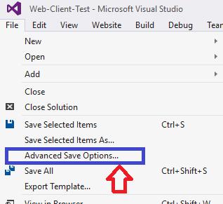 Advanced Save Option, Visual Studio, Türkçe Karaker Sorunu, Seçim