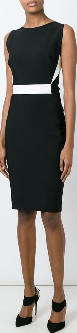 Mugler Contrast Panel Fitted Dress