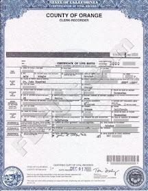 birth certificate california orange county