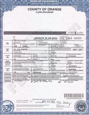 Orange County Birth Certificate California