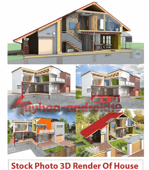 Stock Photo 3D Render Of House
