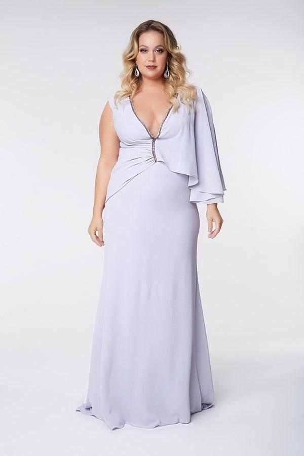 vestido longo lavanda para mãe dos noivos