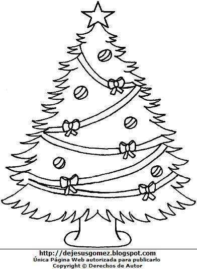 Imagen de Arbol de Navidad adornado para niños para pintar e imprimir. Arbol de Navidad hecho por Jesus Gómez