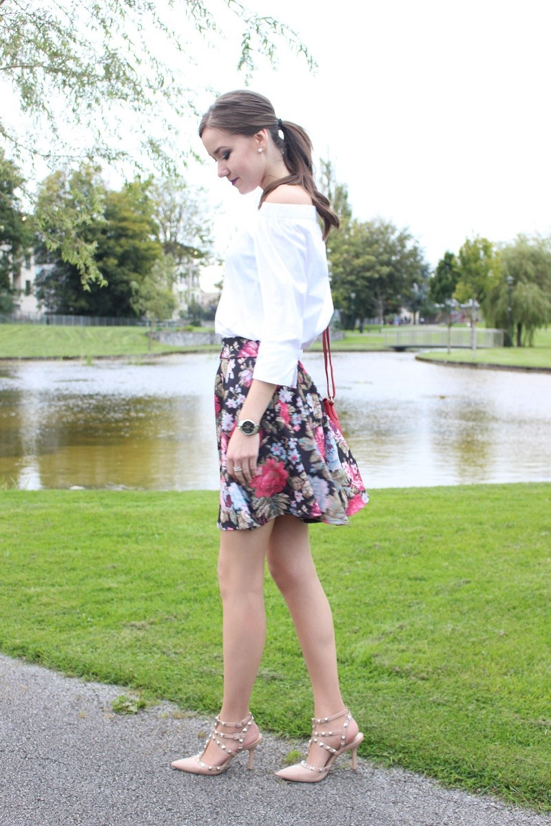 autumn outfit, ootd, girly style, floral askirt,