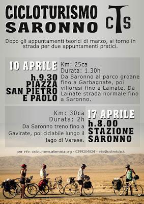 """Manifesto pubblicitario delle escursioni di aprile organizzate da """"Cicloturismo Saronno"""""""