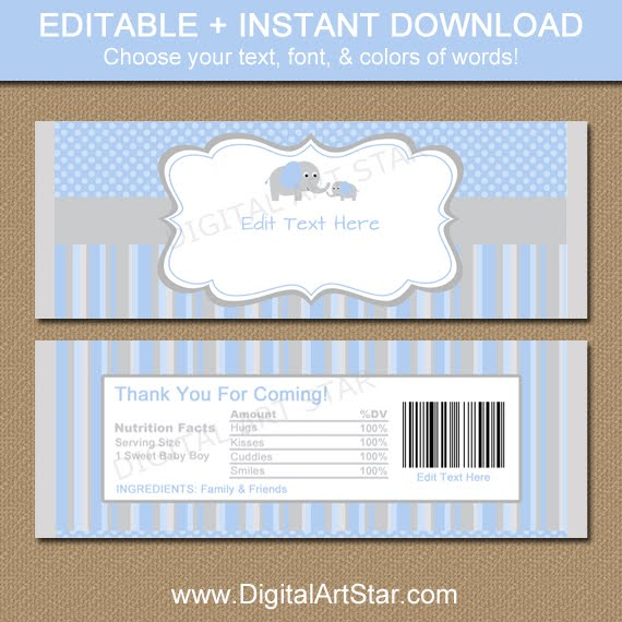 Shop: Elephant Baby Shower Candy Wrappers