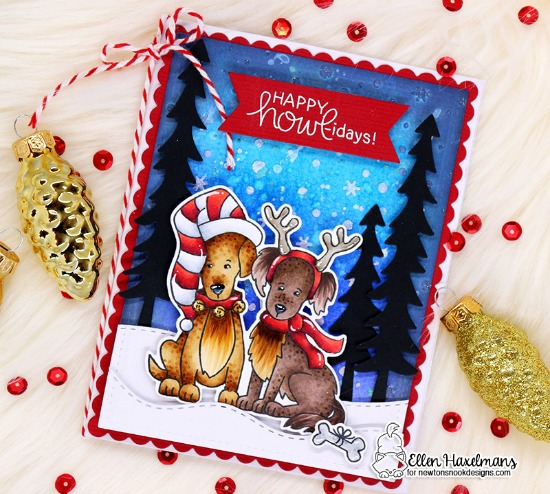 Happy Howl-idays Copic Coloring Tutorial Card by Ellen Haxelmans | Happy Howl-idays Stamp Set and various die sets by Newton's Nook Designs #newtonsnook #handmade