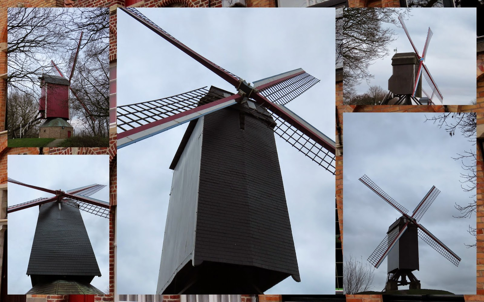 Windmills in Bruges, Belgium at Christmastime