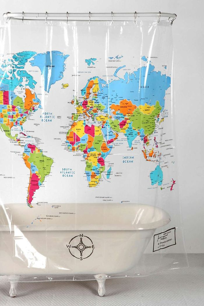 15+ Of The Best Traveler Gift Ideas Besides Actual Plane Tickets - World Map Shower Curtain