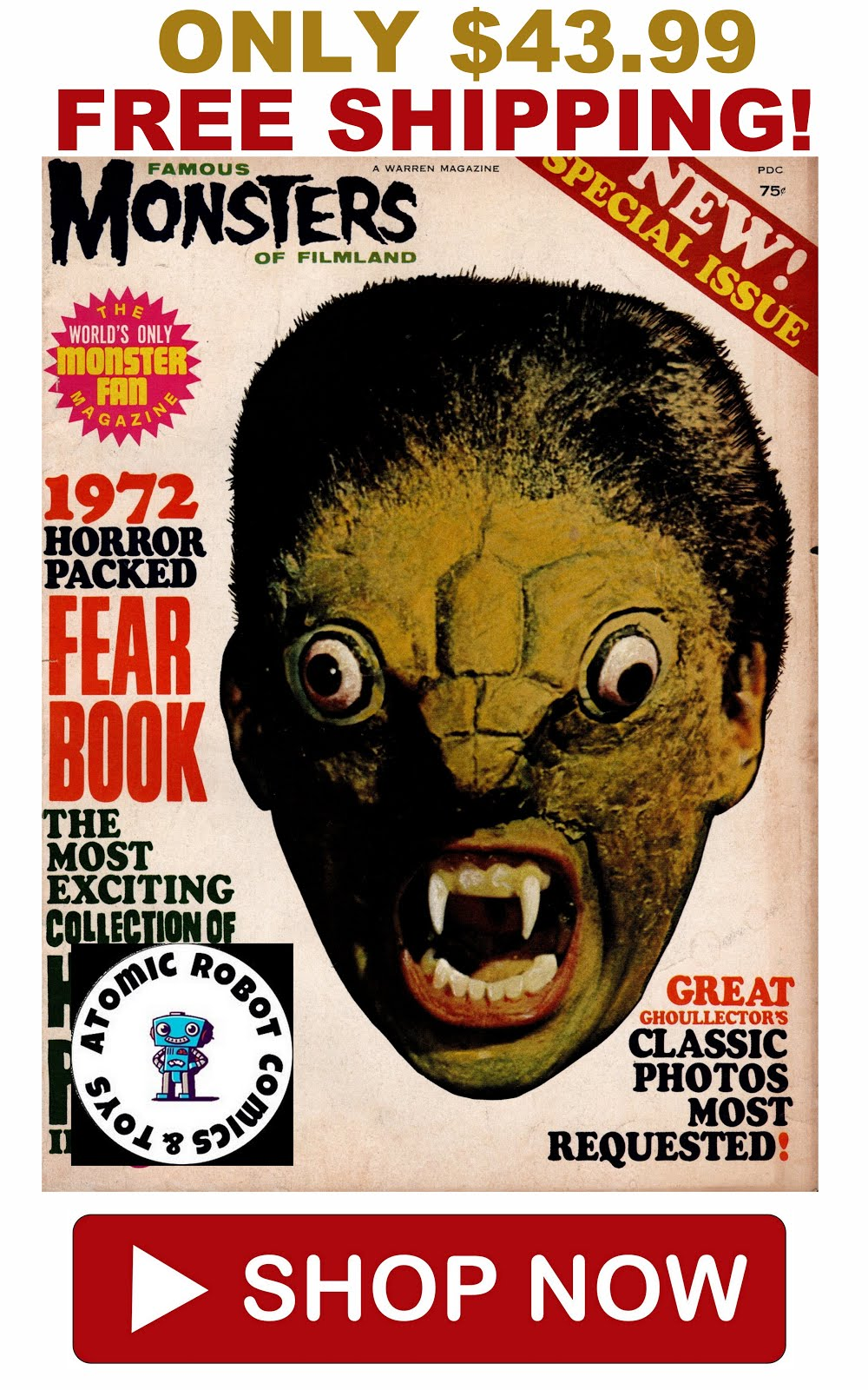 Famous Monsters of Filmland 1972 Fearbook Warren Publishing Grade Fine