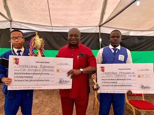 @GovernorIkpeazu gives scholarship to Wole Soyinka prize winners