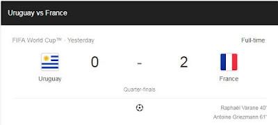 Keputusan Perlawanan France- Uruguay Tahniah France layak ke semifinal siapa yang layak ke semifinal world cup 2018