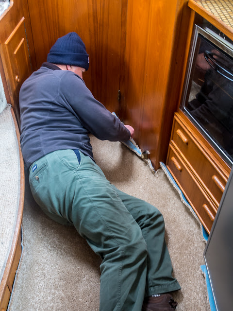 Photo of Phil fitting the new carpet