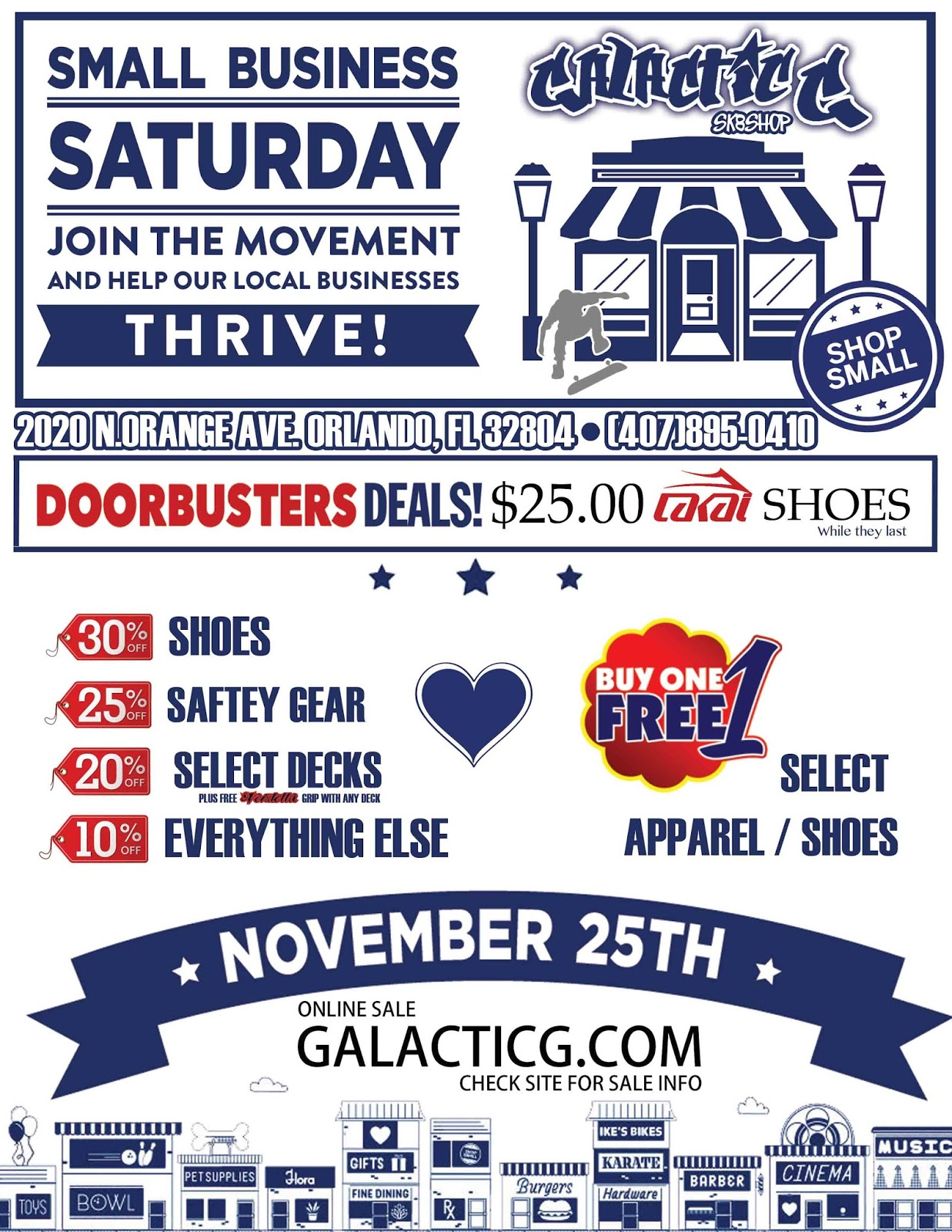 2020 Small Business Saturday.Galactic G Sk8 Shop Small Business Saturday Sale At