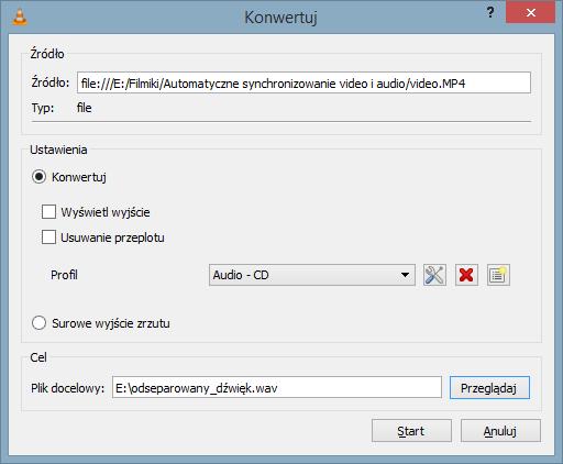 Funkcja Konwertuj odtwarzacza VLC umożliwiająca oddzielenie dźwięku od nagrania video