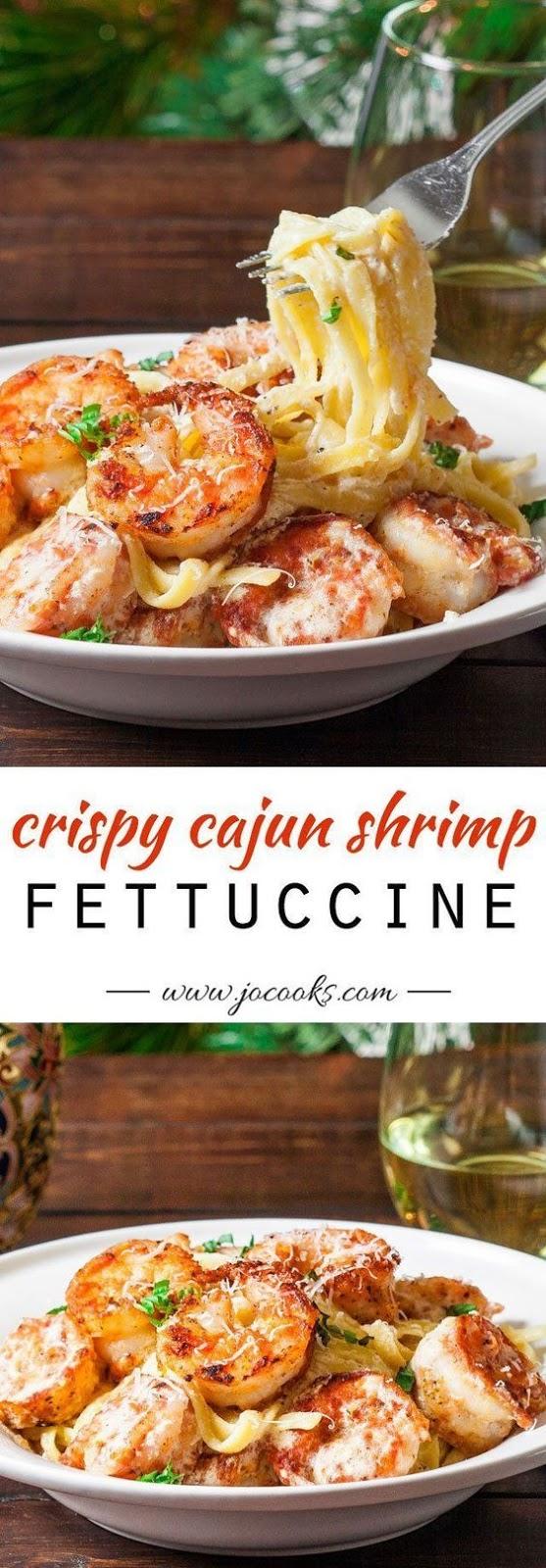 Crispy Cajun Shrimp Fettuccine #maincourse #dinner #cajun #shrimp #fettuccine