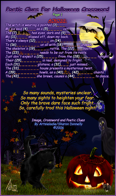 Halloween puzzle clues across/art by Artsieladie