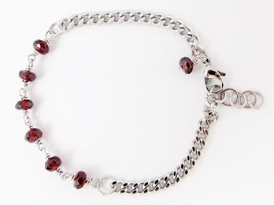 Wire wrapped Minima Bracelet (Minlet) with Garnet and Box Link Stainless Steel Chain