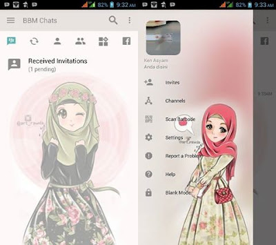 Download BBM MOD Pink Hijab Cute Elegant v3.2.0.6 APK Terbaru