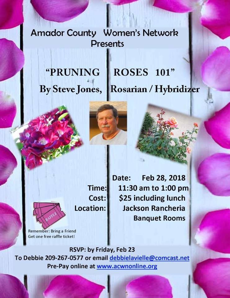 "ACWN Presents: ""Pruning Roses 101"" by Steve Jones - Wed Feb 28"