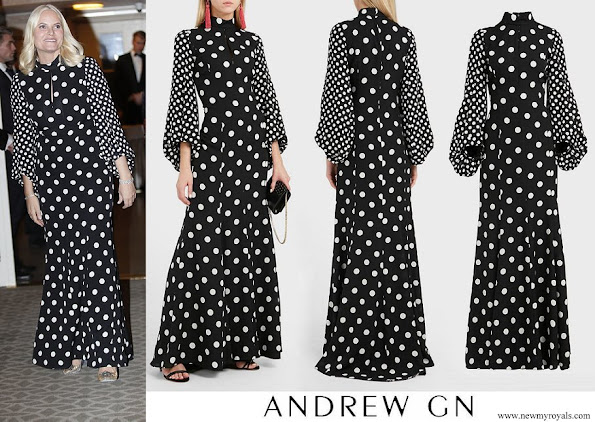Crown Princess Mette-Marit wore Andrew Gn High-neck Polka-dot Print Balloon-sleeve Silk Gown