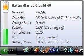 Holen Sie sich detaillierte Informationen über Ihr Notebook-Akku mit Battery Bar