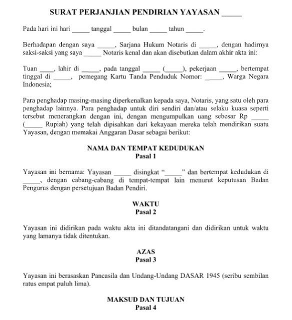 Contoh Surat Perjanjian Pendirian Yayasan yang Resmi Baik dan Benar Format Word