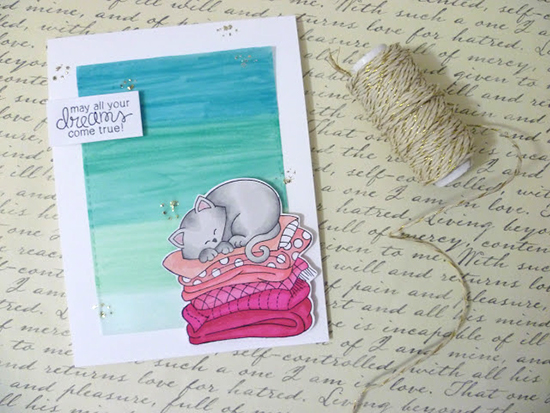 Dreaming Kitty card by the little mennonite: Fun with velum | Newton's Daydream stamp set by Newton's Nook Designs #newtonsnook