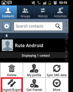 Import/Export Contacts Android