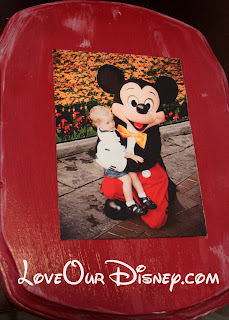 Make a cute wall plaque of a picture of your child with their favorite Disney character to hang on their bedroom or playroom wall. LoveOurDisney.com