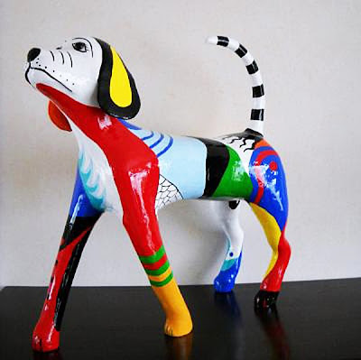 Paper Maché Dog Sculpture