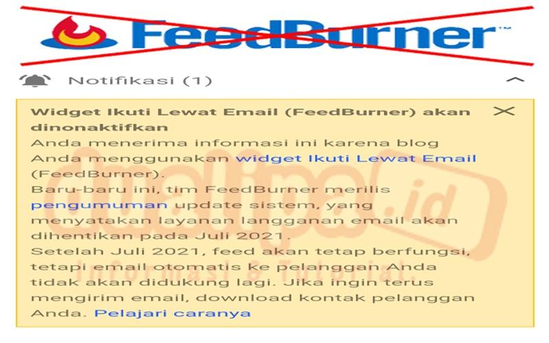 Layanan FeedBurner Ikuti Lewat Email akan di nonaktifkan