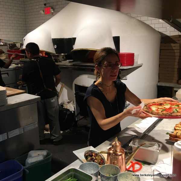 pizza pick-up counter in the open kitchen at Rise Pizzeria in Burlingame, California