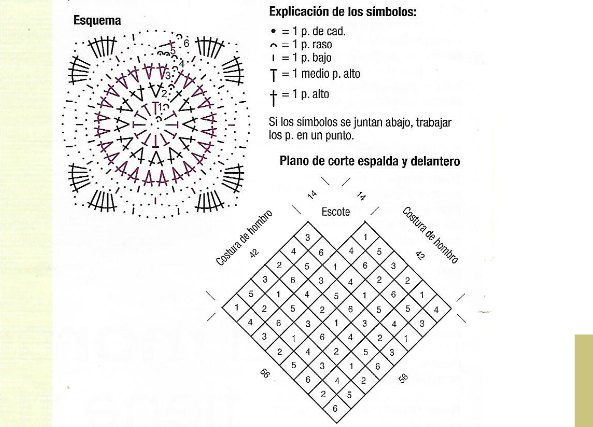 Poncho motivos granny-squares con flecos de ganchillo