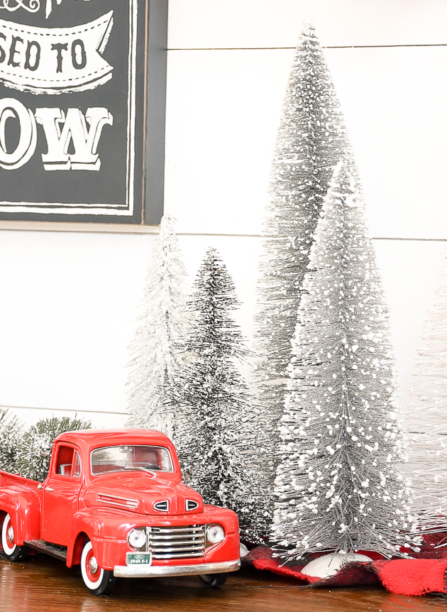 Christmas decor, holiday, gallery wall, Christmas, Christmas gallery wall, Kirkland's, bottle brush trees
