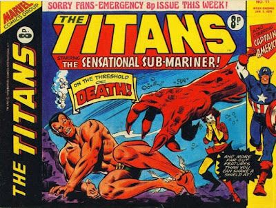 Marvel UK, Titans #11, Sub-Mariner is threatened by big orange claw