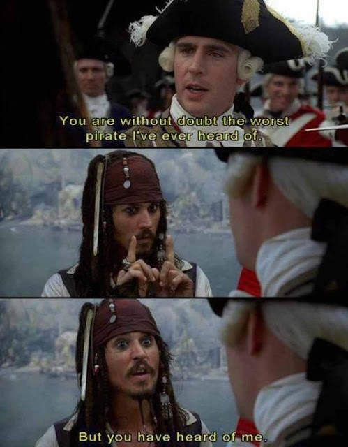 If I Were Captain Jack Sparrow - 10 ways life would be different if I were Jack Sparrow from Pirates of the Caribbean. The headscarf is only the beginning.  {posted @ Unremarkable Files}