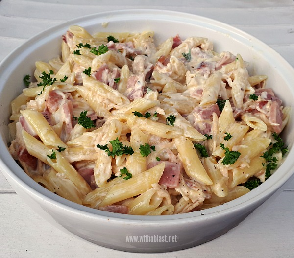 Cheesy Garlic Cream Cheese sauce, Bacon, Chicken and more - this is the ultimate comfort food !