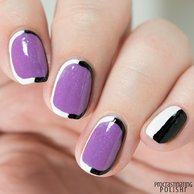 Monochrome Outline Nail Art