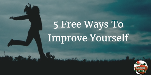 "Header image for the article ""5 Free Ways To Improve Yourself"": a list of ways you can use to improve yourself for free and achieve personal development success in your life."