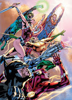 Justice League of America #1 by Bryan Hitch, Howard Porter, Daniel Henriques, Wade von Grawbadger, Andrew Currie, Alex Sinclair, Jeromy, Chris Eliopoulos.  Justice League of America created by Gardner Fox.