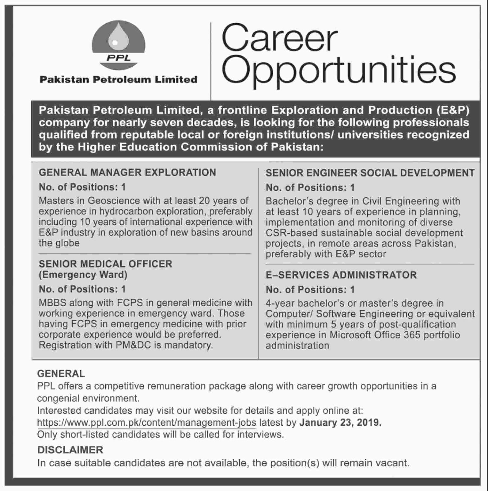 Jobs Vacancies In Pakistan Petroleum Limited 14 January 2019